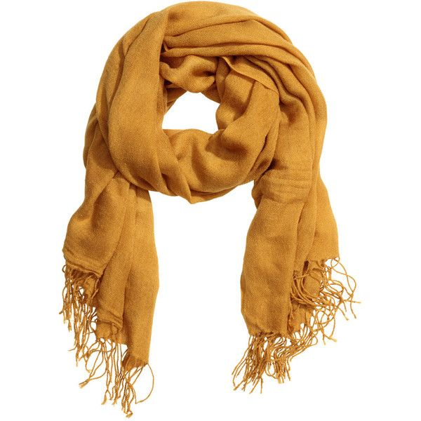 H&M Woven Scarf $4.99 ($4.99) ❤ liked on Polyvore featuring accessories, scarves, braided scarves, woven scarves, fringe shawl, short scarves and woven shawl