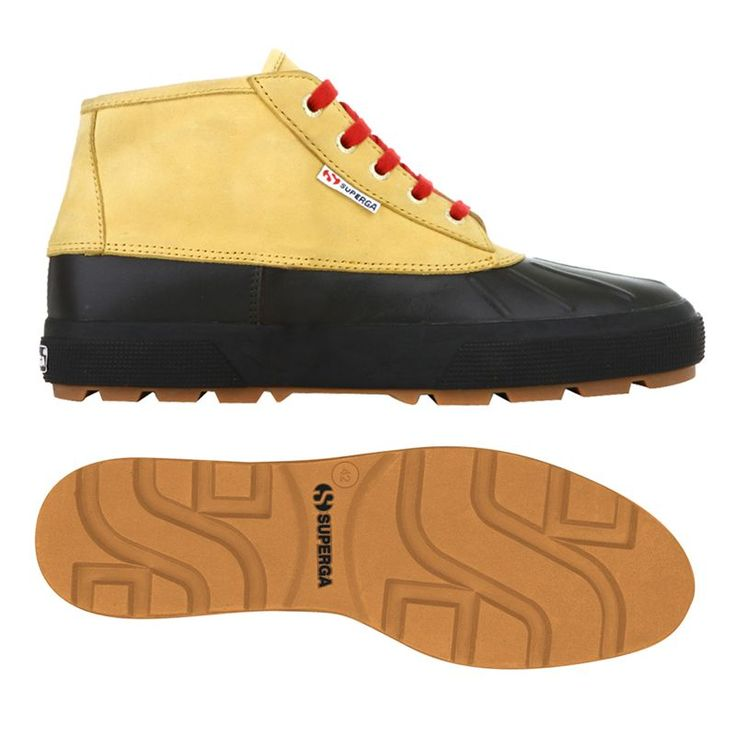 €83,40 - 2170TANK FGLNBKU - Superga trendy unisex duck boot in full grain leather and water-repellent nubuck leather, lining in cotton, collar lining in leather and outsole in natural rubber. Only at #Superga