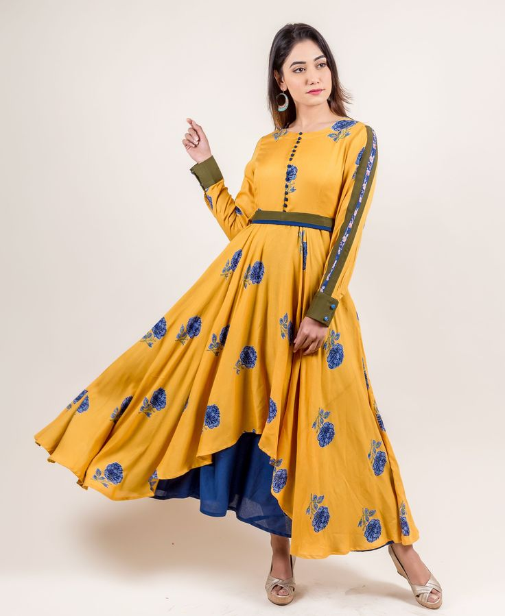 Let your unique styling truly blossom with this opulent yellow asymmetrical long dress from the house of  #Missprint.
