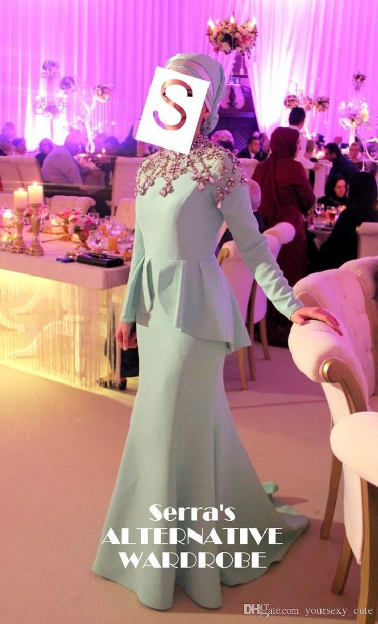 Grace Karin Evening Dresses 2015 Vintage Mermaid High Neck Long Sleeve Beaded Crystals Ruffles Sweep Train Satin Formal Prom Gowns