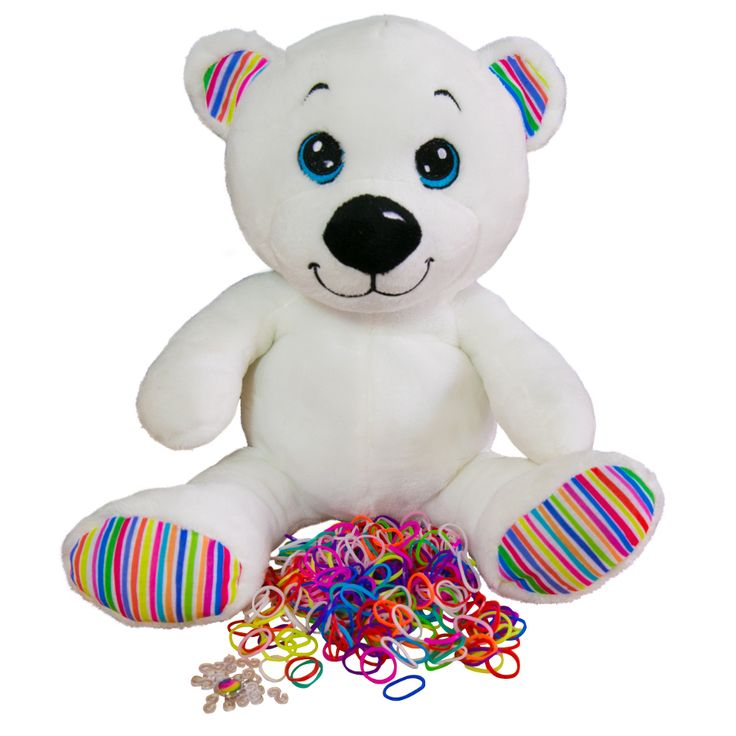 It's me, Loomi Bear.  With my pack of loom bands and my very own Limited Edition rainbow charm that come inside my back pocket.  You can store your favourite loom bracelets in there too. #loomibear #rainbowcharm #rainbowbear