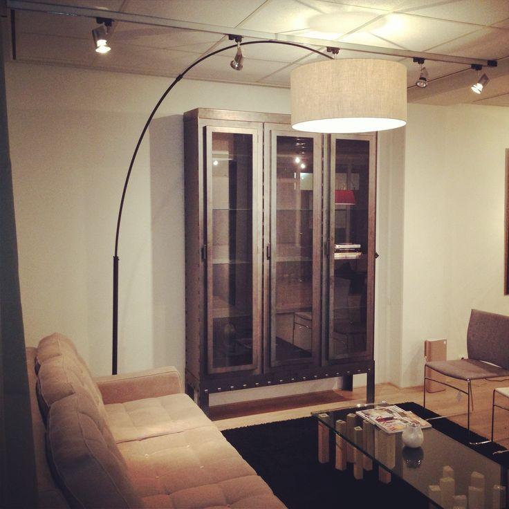 STEEL CABINET by BLOK. industrial look and glass doors. STALEN KAST van BLOK vitrinekast met industrieele uitstraling en glazen deuren