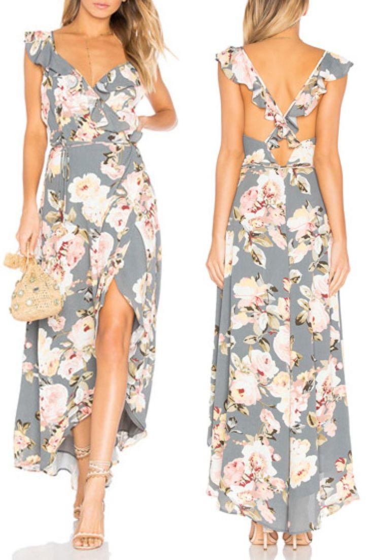c698b8713 Vestido Mullet Floral Babado Decote V Transpassado | UFashionShop ...