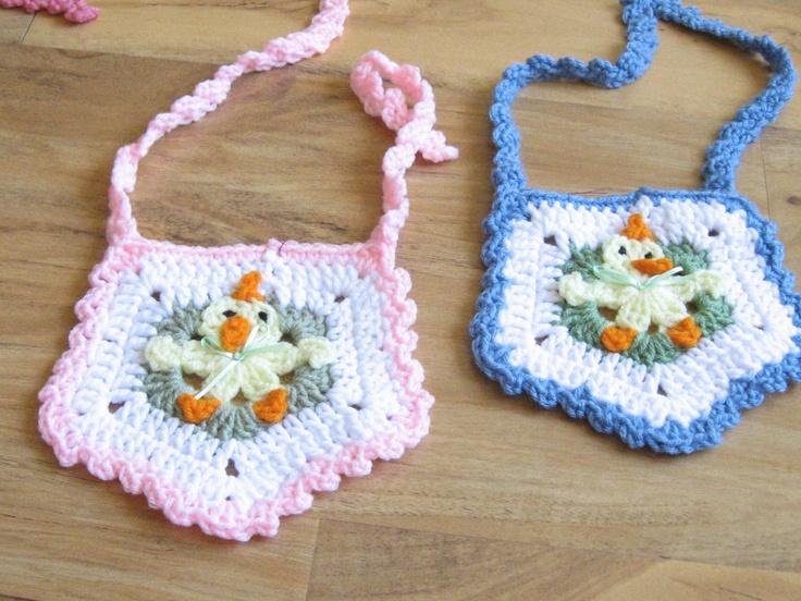 Crochet Easter Baby Bibs - Newborn Chick and Duck