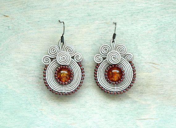 Small soutache earrings Beige orange brown Fall by ShoShanaArt