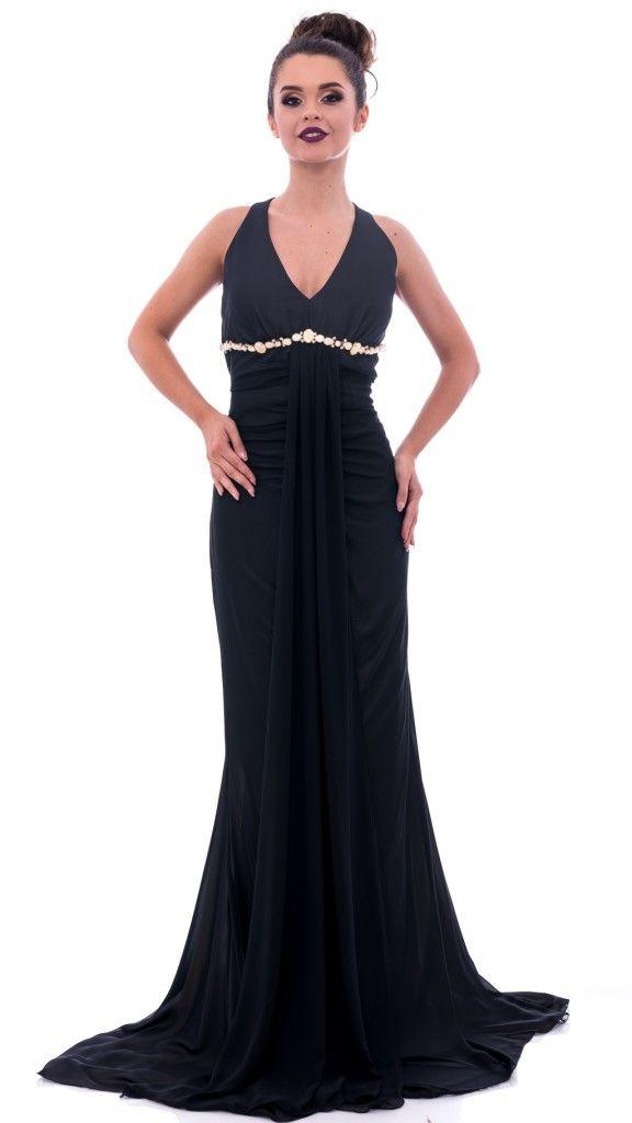 Rochie lungă neagră spate gol și volănașe