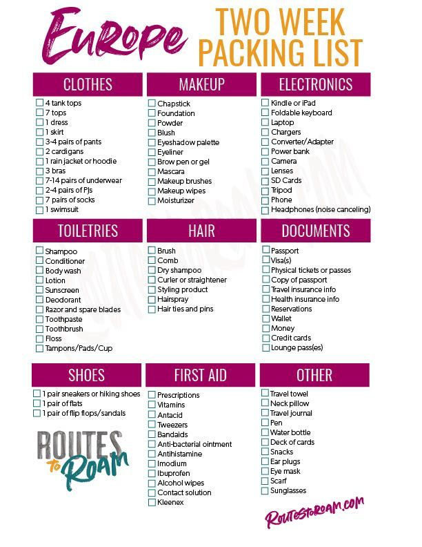 What To Pack For 2 Weeks In Europe Plus Checklist Packing Tips For Travel Packing List For Travel Europe Packing List