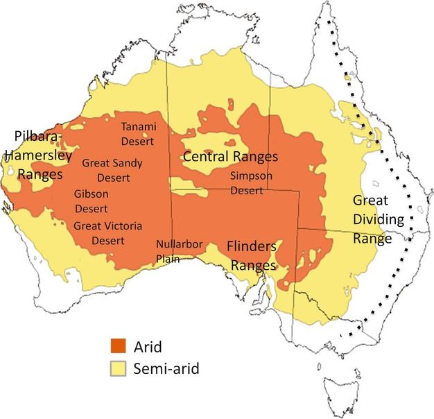 Map Of Australia Great Victoria Desert.Extent Of The Arid And Semiarid Regions In Australia Maps Of