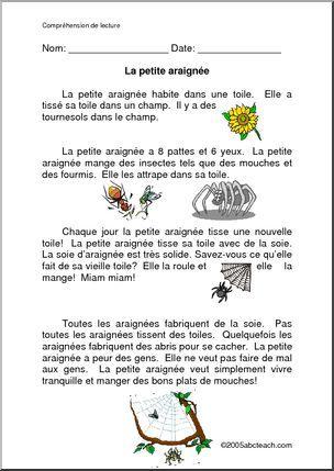 French: La petite araignée - Story of a little spider. Histoire d'une petite araignée.