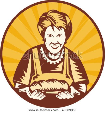 vector illustration of an old woman presenting a freshly baked loaf of bread set inside a circle.  #baker #woodcut #illustration