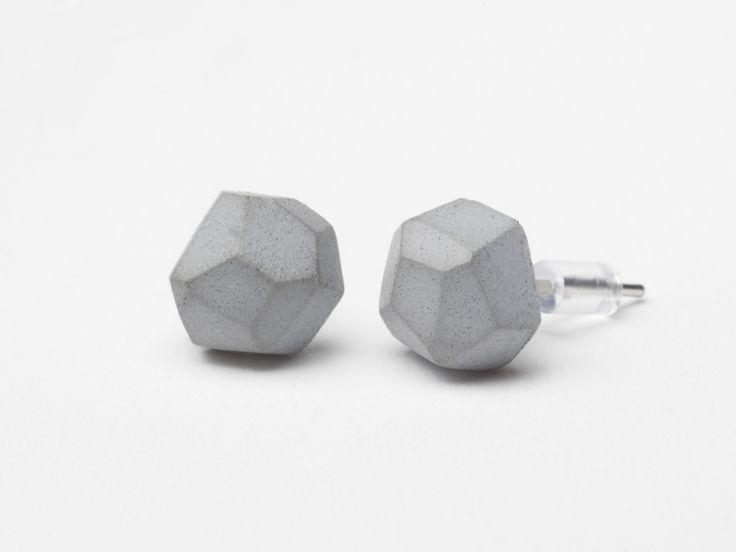 AB concrete design - METEOR / gray Earrings, concrete, design, gray, stone, meteor, triangle, polygon, rock, minimal, elegant
