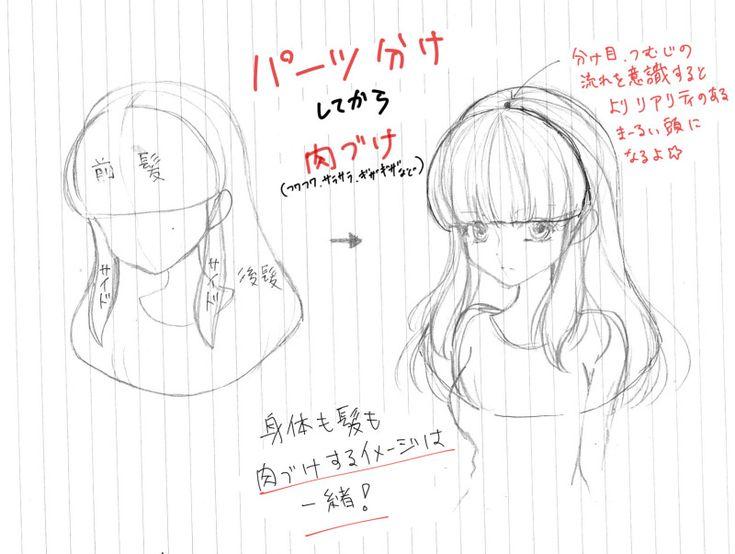 前髪の描き方 Cabelo De Anime Tutoriais De Cabelo Desenho De Inspiracao