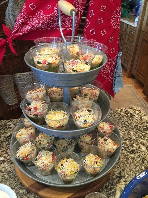 Individual 7 layer chip dip cups. Great appetizer for buffet style parties - Country Western Boy Baby Shower