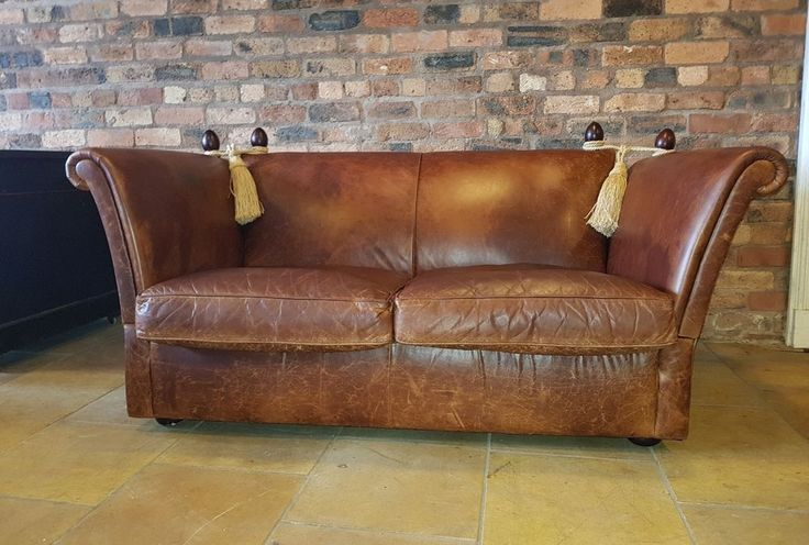 LAURA ASHLEY LEATHER KNOLL SOFA VINTAGE DISTRESSED PARKER KNOLL DROP ARM 2 SEAT