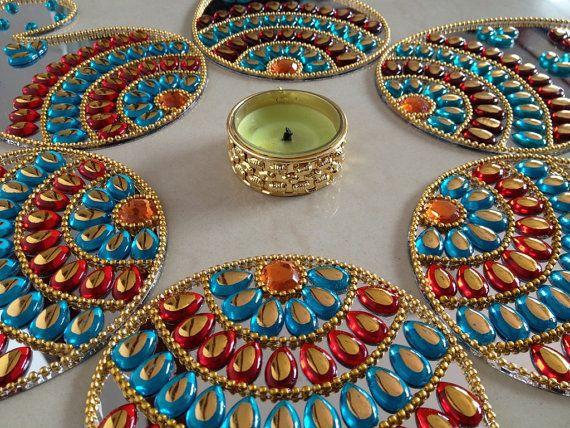 Kundan floor art / Indian Rangoli / Wedding Centerpiece / Diwali Decoration