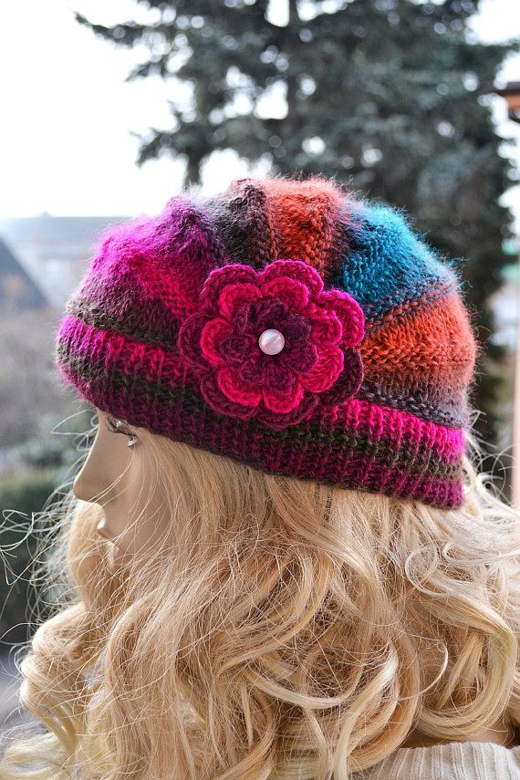 Knitted multicolor cap with flower  / hat lovely by DosiakStyle