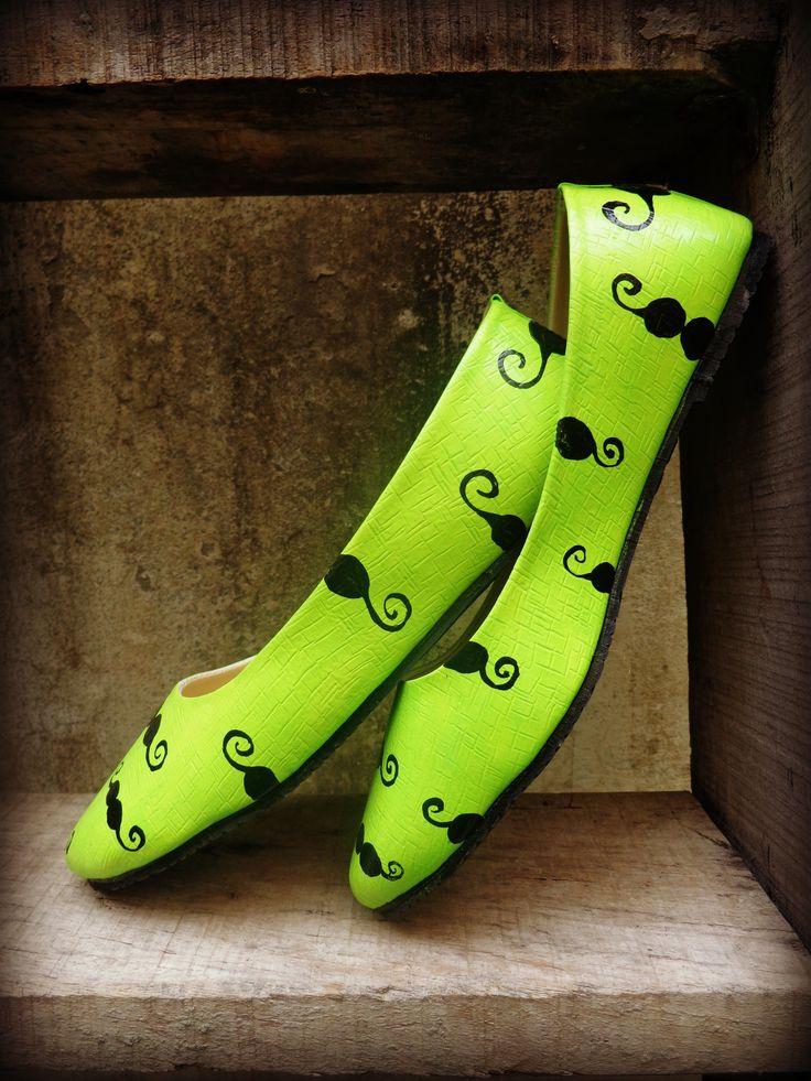 neon green mustache ballerina by www.zubiya.com