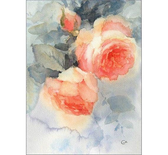 Rosas pintura acuarela Original de melocotón 8 x por CMwatercolors