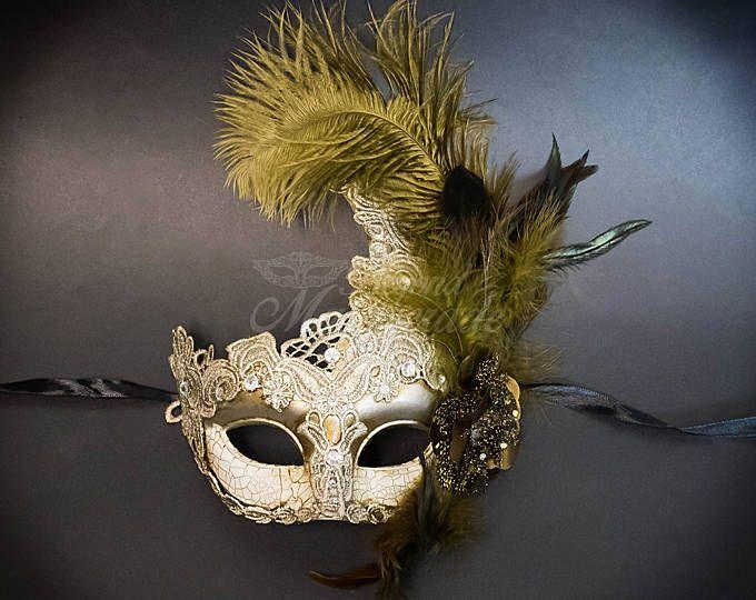 Gold Venetian Mask Masquerade Mardi Gras Party Costume Paper Mache Mens