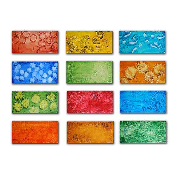 Grande pittura astratta, arcobaleno arte, pittura pesanti martellata, verniciato parete scultura, arte geometrica originale