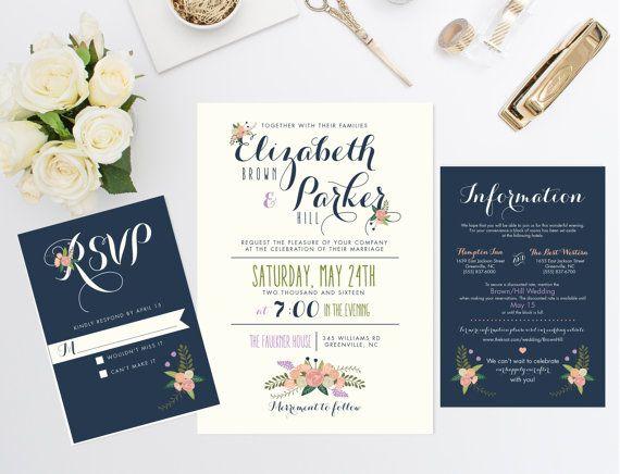 Printable Wedding Invitation Bundle Cute By RememberNovemberInc
