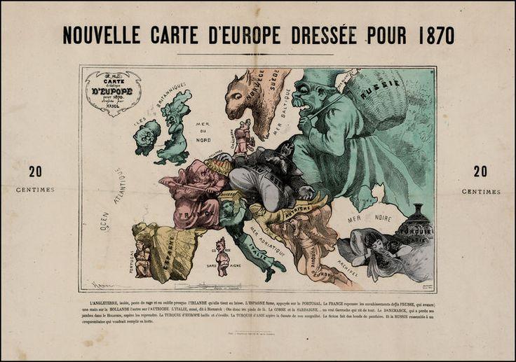 1870-es helyzet szerinti térkép Európáról