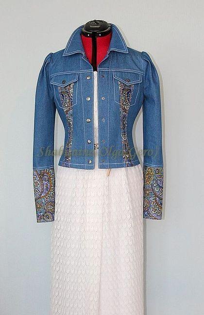Пиджаки, жакеты ручной работы. Ярмарка Мастеров - ручная работа. Купить Куртка джинсовая с отделкой из Павловопосадского платка. Handmade. Синий