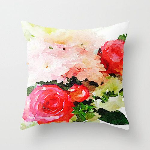Garden Roses Watercolor Painting Print Pillow by TheArtwerks
