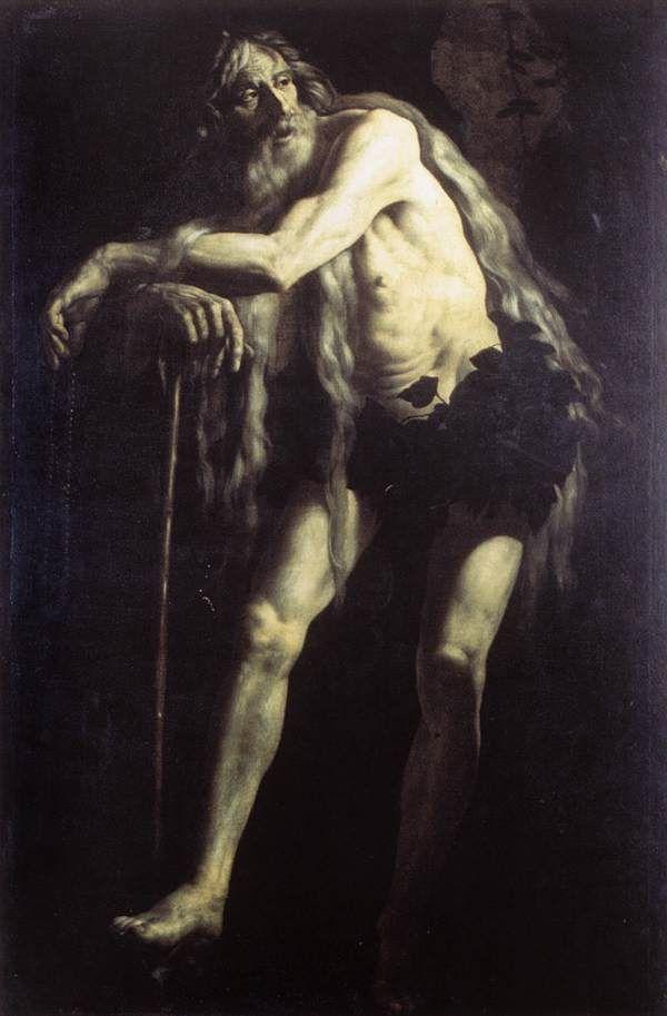 Giovanni Battista Caracciolo (Battistello)  (1578–1635) ,St Onophrius   circa 1625, oil on canvas Dimensions:Height: 180 cm (70.9 in). Width: 116 cm (45.7 in). Current location: Galleria Nazionale d'Arte Antica