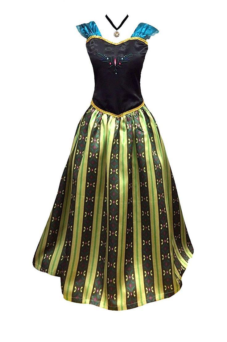 Amazon.com: American Vogue ADULT WOMEN FROZEN ANNA Elsa Coronation Dress Costume & Princess Snow White Costume: Clothing