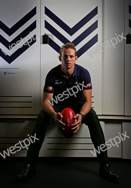 Tour around the new Fremantle Dockers facility in Cockburn. PICTURED - Fremantle Dockers captain Nathan Fyfe inside the new players change rooms Picture: Daniel Wilkins