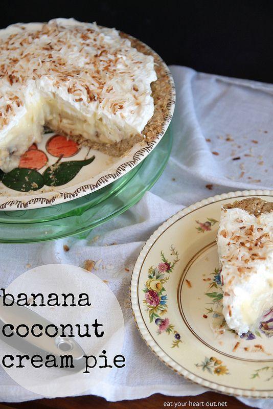 Banana Coconut Cream Pie: Coconut custard and sliced bananas layered ...