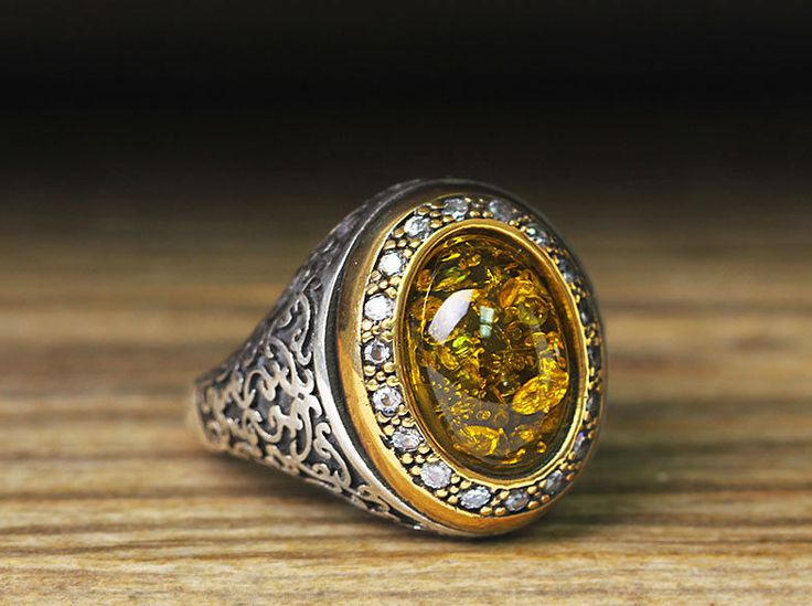 925 K Sterling Silver Man Ring Yellow Amber 10,75 US Size $45.99