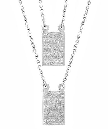 Another great find on #zulily! Stainless Steel 'Padre Nuestro' Prayer Pendant Necklace #zulilyfinds