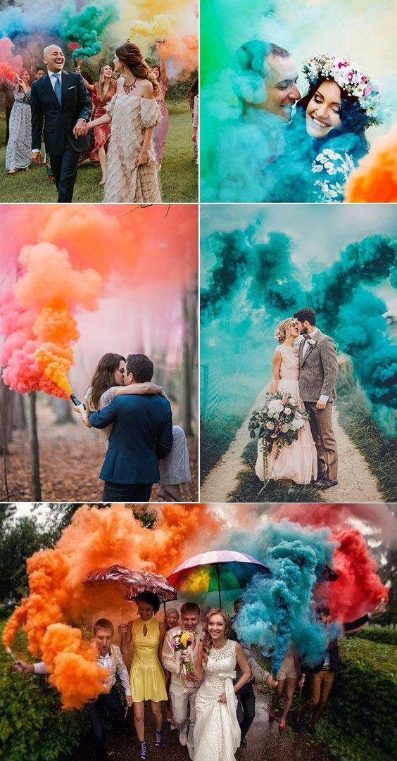 50 Colourful Smoke Bomb Wedding ceremony Photograph Concepts