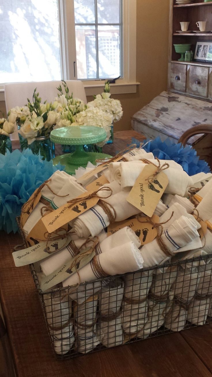 "Baby shower party favors - sweet ""vintage"" tea towels with hand stamped tags 