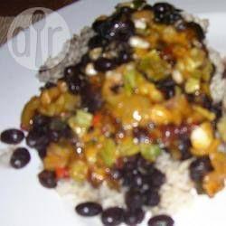 Foto recept: Kruidige zwarte bonen met rijst