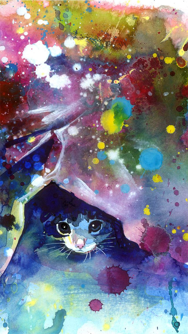 ↑↑TAP AND GET THE FREE APP! Art Creative Cat Multicolor Funny HD iPhone Wallpaper