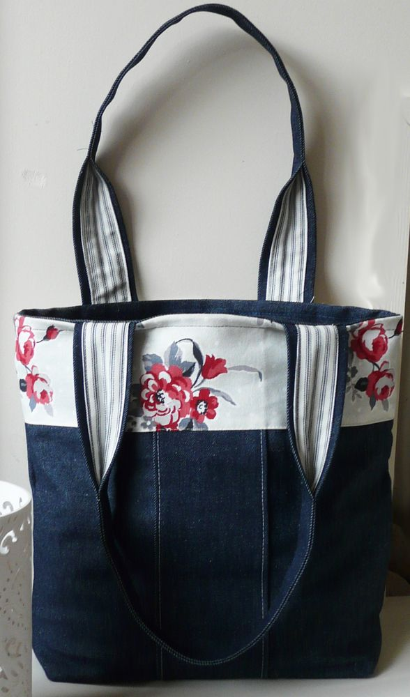 Denim  Handbag Tote bag with red flowered panel- Not a pattern but interesting way to use denim with fabric band on top