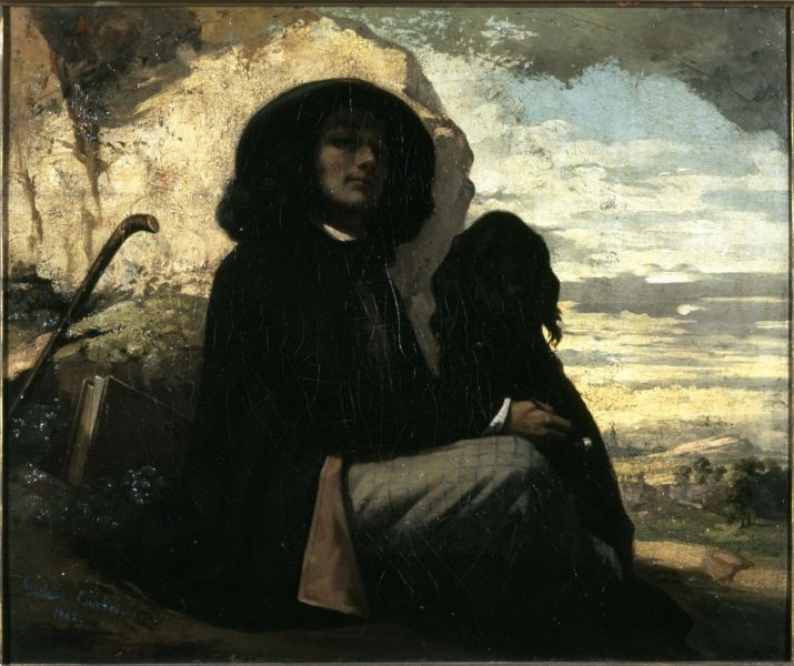 Gustave Courbet - Self Portrait with a Black Dog, 1842