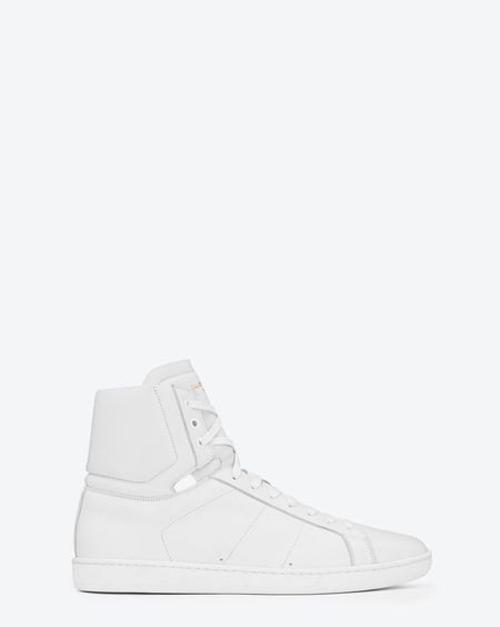 SAINT LAURENT - Classic High Top Sneaker in White Leather