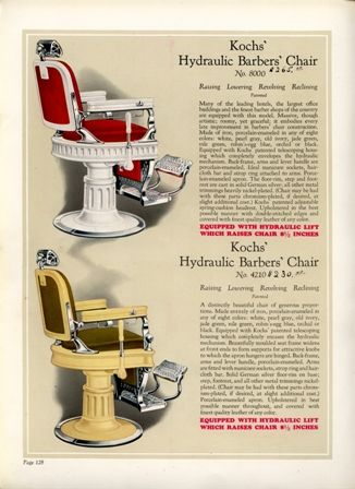 1929 Buckeye Barbers' chairs and Barber shop Equipment