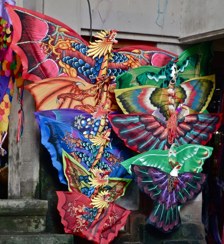 Colorful kites for sale in Ubud Market, Bali, Indonesia, Wanderlust, Bucket List, Island, Paradise, Bali, Travel, Exotic Places, temple, places to visit in Bali, Balinese food must try.
