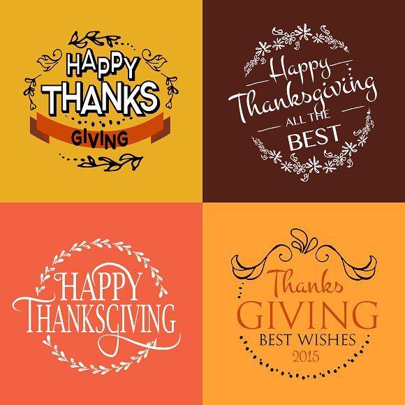 Thanksgiving Card Set By Svetlana Kurako On Creativemarket Happy Thanksgiving Day Thanksgiving Cards Card Set