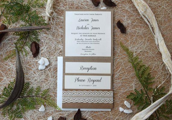Convite de Casamento rústico com serapilheira e by PaperStudioByC