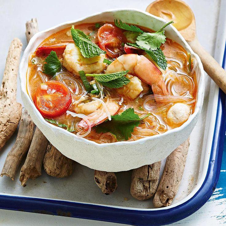 Banana Prawn Tom Yum  Top tip from Fresh Magazine: This hot and sour soup is known as Tom Yum Gaong. It can also be made with chicken and is then called Tom Yum Gai.