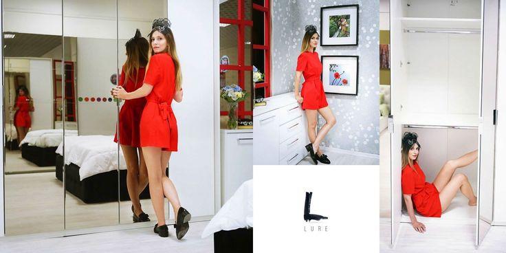 #DanaRogoz looks Lovely in our Red Little Jumpsuit #jumpsuit #lurestore