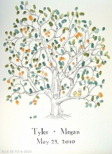 #DIY wedding guest book - thumbprint tree - so cute and easy to do by allison.baker.100