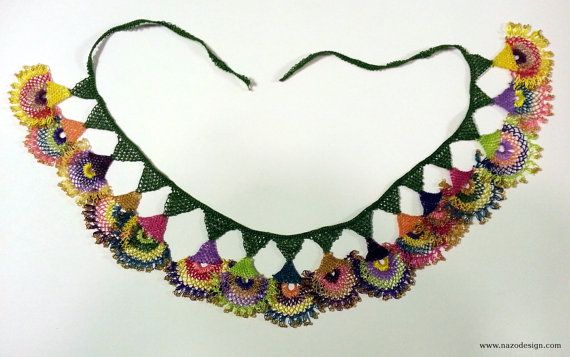 Beaded Necklace  Beaded Crochet Neckalce  Knotted by NazoDesign, $65.00