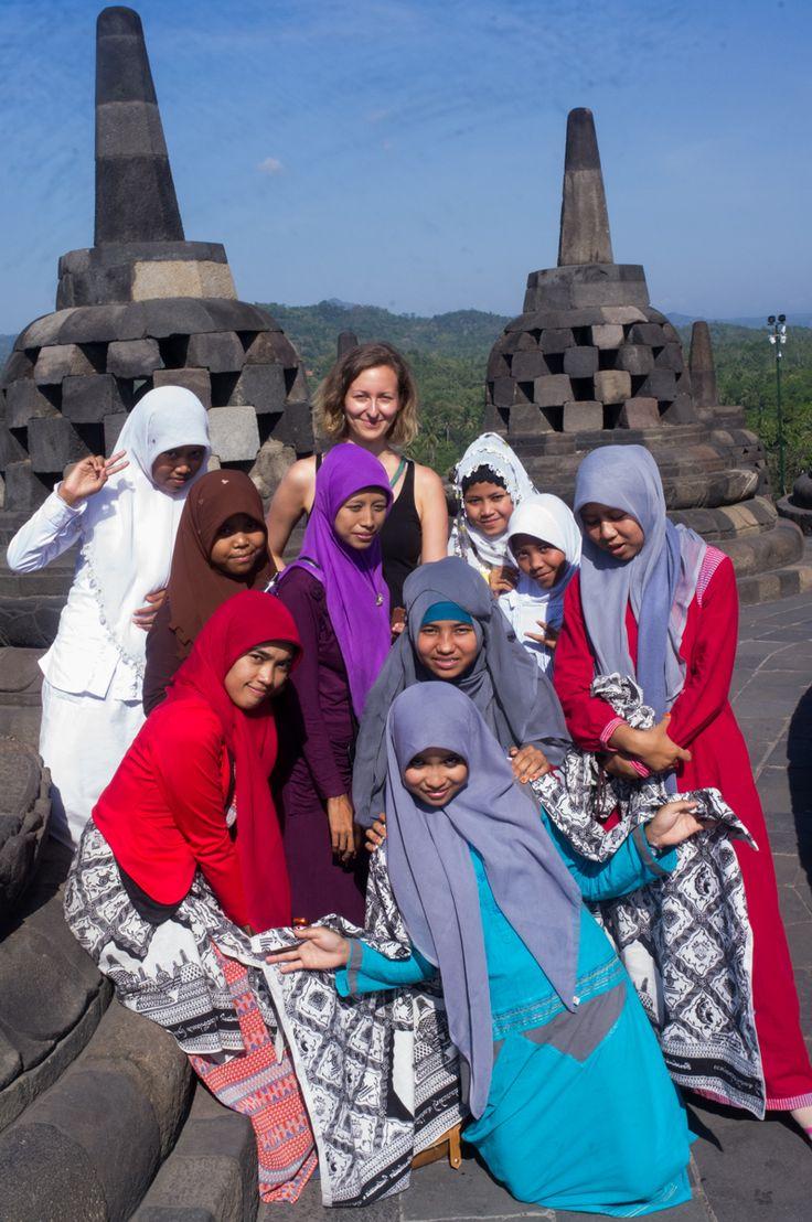 School trip, Borobudur, Java, Indonesia